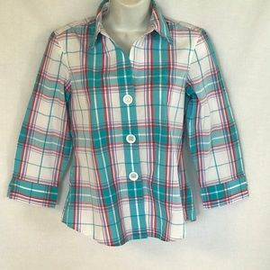 FOXCROFT Blue Plaid Button down shirts Sz 4P